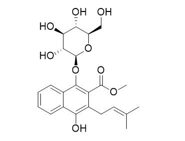 1,4-Dihydroxy-2-carbomethoxy-3-prenylnaphthalene-1-O-beta-glucopyranoside
